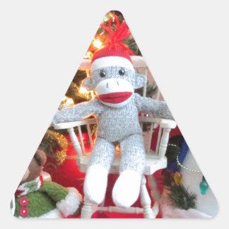 Juguetes del navidad pegatina triangular