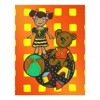 """Juguetes del oso y de la bola de la muñeca folleto 8.5"""" x 11"""""""