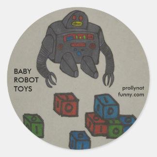 Juguetes del robot del bebé pegatina redonda