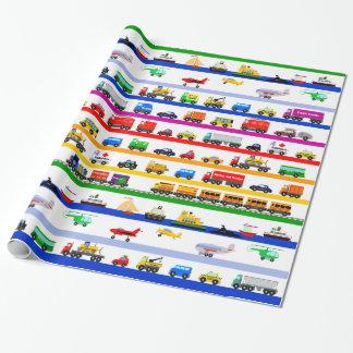 Juguetes del transporte papel de regalo