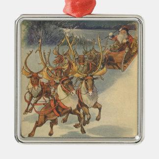 Juguetes del trineo del reno de Papá Noel del Adorno Cuadrado Plateado