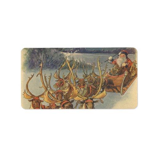 Juguetes del trineo del reno de Papá Noel del Etiqueta De Dirección