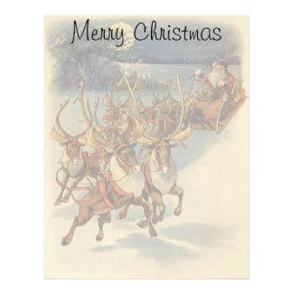 Juguetes del trineo del reno de Papá Noel del Membrete A Diseño