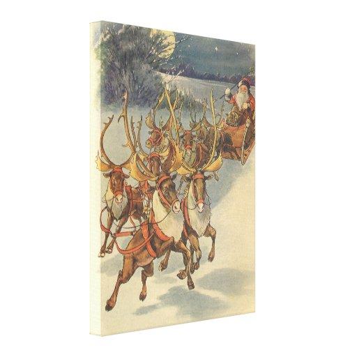 Juguetes del trineo del reno de Papá Noel del navi Impresion En Lona