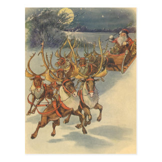 Juguetes del trineo del reno de Papá Noel del navi Tarjeta Postal