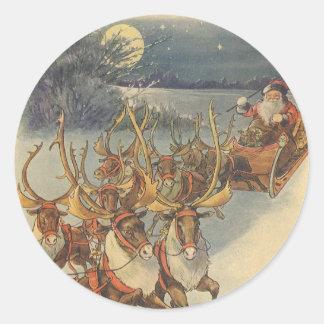 Juguetes del trineo del reno de Papá Noel del Pegatina Redonda