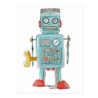 juguetes del vintage del robot tarjeta postal
