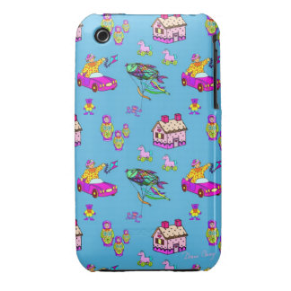 Juguetes - Dollhouses y cometas rosados de la turq Case-Mate iPhone 3 Carcasa
