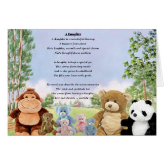 Juguetes mimosos - poema de la hija tarjeta de felicitación