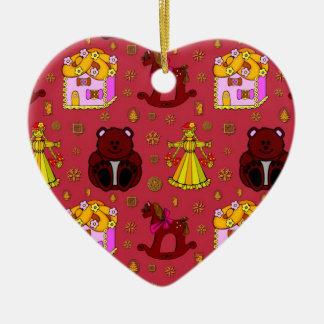 Juguetes - muñecas y osos de peluche de oro del adorno navideño de cerámica en forma de corazón