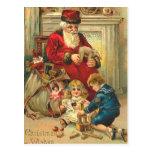 Juguetes rusos de la tarjeta de Navidad de Santa d Postal