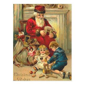 Juguetes rusos de la tarjeta de Navidad de Santa Postal