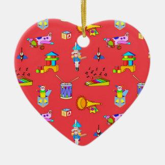 Juguetes - tambores púrpuras y cuernos de oro adorno de cerámica en forma de corazón