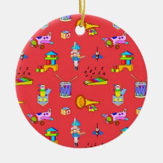 Juguetes - tambores púrpuras y cuernos de oro adorno redondo de cerámica