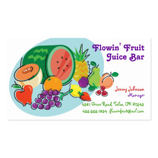 Juice Bar & Smoothies_totally fruity_blue oval Double-Sided Standard Business Cards (Pack Of 100)