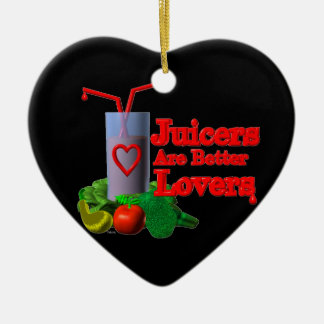 Juicers are better lovers by Valxart.com Double-Sided Heart Ceramic Christmas Ornament