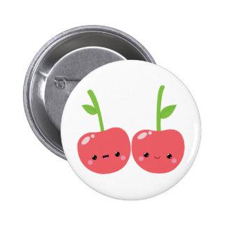 Juicy Cute Kawaii Cherries Pinback Button