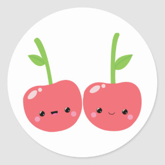 Juicy Cute Kawaii Cherries Classic Round Sticker