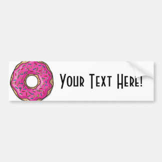 Juicy Delicious Pink Sprinkled Donut Bumper Sticker