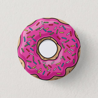 Juicy Delicious Pink Sprinkled Donut Button
