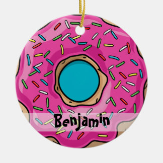 Juicy Delicious Pink Sprinkled Donut Ceramic Ornament
