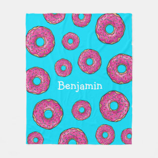Juicy Delicious Pink Sprinkled Donut Fleece Blanket