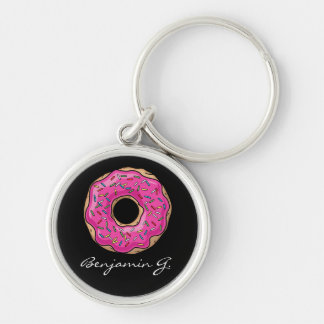 Juicy Delicious Pink Sprinkled Donut Keychain