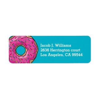 Juicy Delicious Pink Sprinkled Donut Label