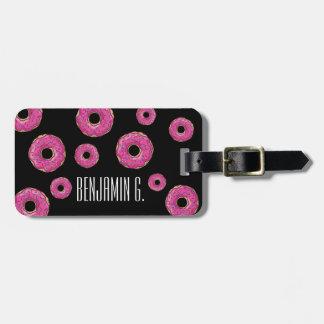 Juicy Delicious Pink Sprinkled Donut Luggage Tag