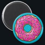 """Juicy Delicious Pink Sprinkled Donut Magnet<br><div class=""""desc"""">A juicy delicious pink sprinkled donut in a cartoon style. It&#39;s enough to make anyone hungry.</div>"""