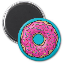 Juicy Delicious Pink Sprinkled Donut Magnet