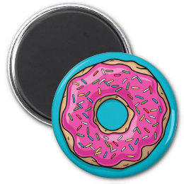 Juicy Delicious Pink Sprinkled Donut Magnet