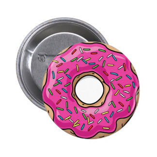 Juicy Delicious Pink Sprinkled Donut Pinback Button