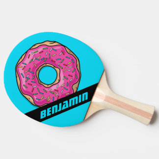 Juicy Delicious Pink Sprinkled Donut Ping-Pong Paddle