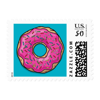 Juicy Delicious Pink Sprinkled Donut Postage