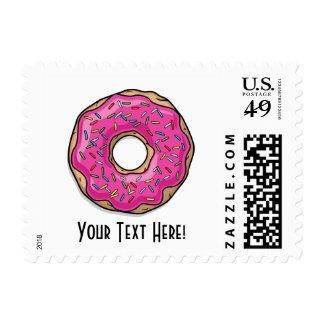 Juicy Delicious Pink Sprinkled Donut Postage Stamp