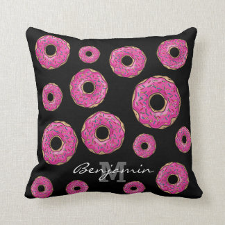 Juicy Delicious Pink Sprinkled Donut Throw Pillow