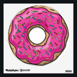 """Juicy Delicious Pink Sprinkled Donut Wall Sticker<br><div class=""""desc"""">A juicy delicious pink sprinkled donut in a cartoon style. It&#39;s enough to make anyone hungry.</div>"""