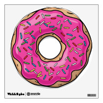 Juicy Delicious Pink Sprinkled Donut Wall Sticker