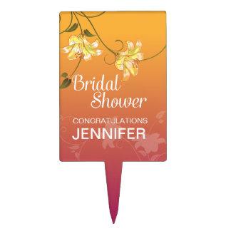 Juicy Floral Ombre Bridal Shower Cake Picks