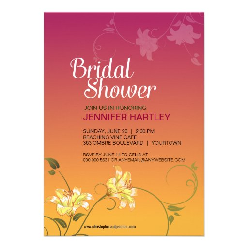 Juicy Floral Ombre Bridal Shower Invitations