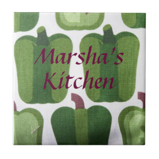 Juicy Green Bell Peppers Fabric Look Custom Name T Ceramic Tile