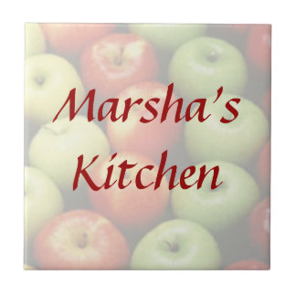 Juicy Green Red and Yellow Apples Custom Name Tile