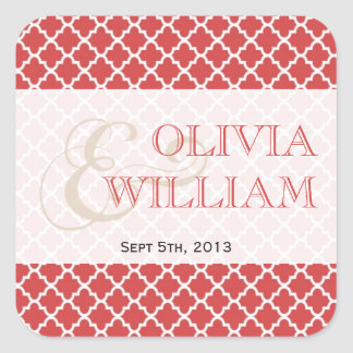 Juicy guava Moroccan tile ampersand modern wedding Square Sticker