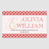 Juicy guava Moroccan tile ampersand wedding favor Rectangular Sticker