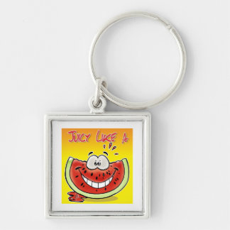 Juicy like a watermelon with background Silver-Colored square keychain