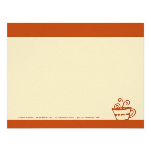 Juicy Orange Coffee Cup Note Cards Announcement