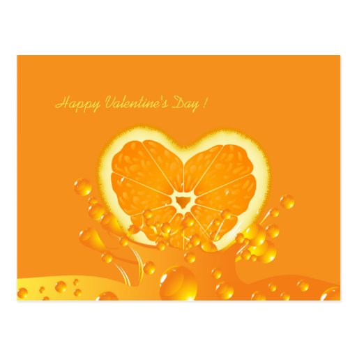 Juicy Orange Heart Valentine's Day Postcard