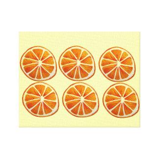 Juicy orange slice watercolor pattern pop art canvas print