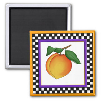 Juicy Peach and Checkerboard Square Magnet